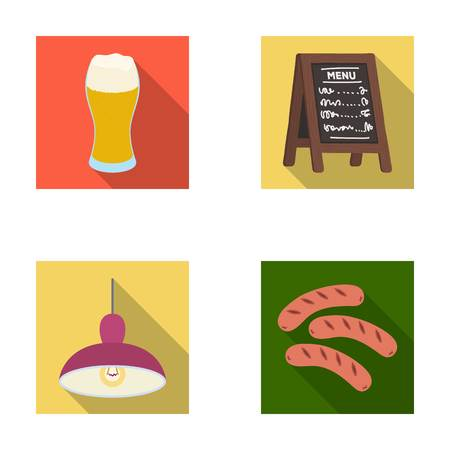 ale: Restaurant, cafe, beer, glass .Pub set collection icons in flat style vector symbol stock illustration web. Illustration
