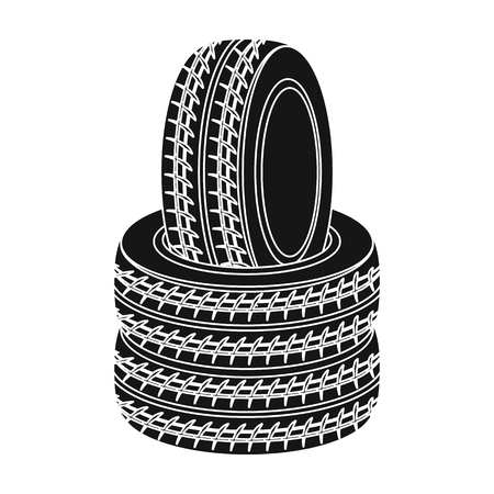 Barricade of tires.Paintball single icon in black style vector symbol stock illustration web.