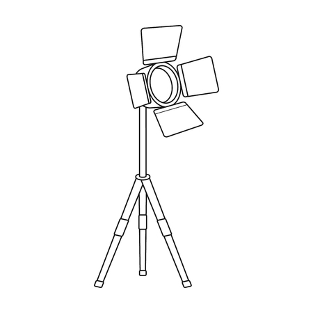ocular: Searchlight for cinema.Making movie single icon in outline style vector symbol stock illustration web.
