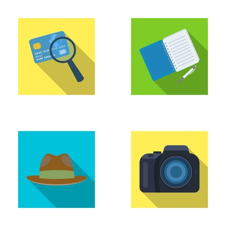 shadowing: Camera, magnifier, hat, notebook with pen.Detective set collection icons in flat style vector symbol stock illustration web.