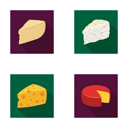 パルメザン チーズ、ロック フォール、maasdam、gauda。チーズの種類は、フラット スタイル ベクトル シンボル ストック イラスト web コレクションのアイコンを設定します。 写真素材 - 80739043