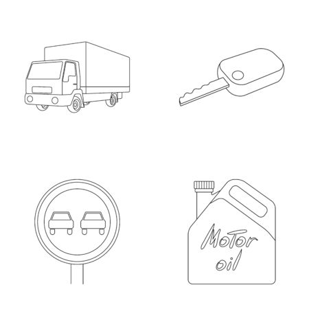 Truck with awning, ignition key, prohibitory sign, engine oil in canister, Vehicle set collection icons in outline style vector symbol stock illustration web.