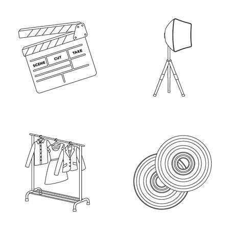 dvd room: Movies, discs and other equipment for the cinema. Making movies set collection icons in outline style vector symbol stock illustration web.