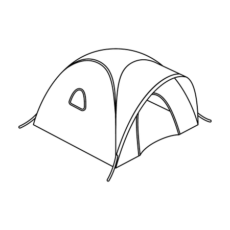 Tent tourist with awning.Tent single icon in outline style vector symbol stock illustration web.