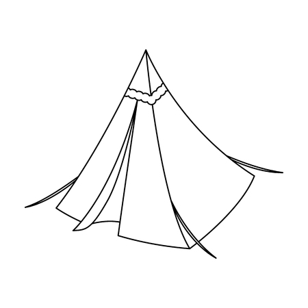 Tent cone.Tent single icon in outline style vector symbol stock illustration web.