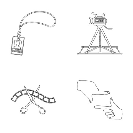 Badge, operator gesture and other accessories for the movie. Making movie set collection icons in outline style vector symbol stock illustration web. Illustration