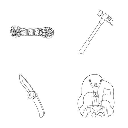 Climber on conquered top, coil of rope, knife, hammer.Mountaineering set collection icons in outline style vector symbol stock illustration web.