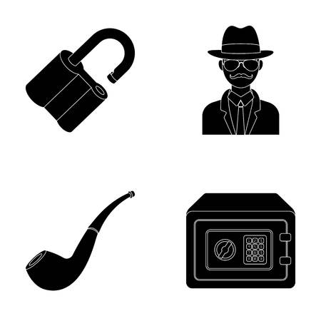 shadowing: Lock hacked, safe, smoking pipe, private detective.Detective set collection icons in black style vector symbol stock illustration web.