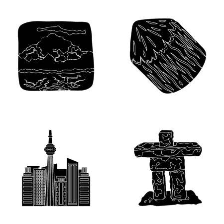 interesting: Lakes, mountains, the tower of SI-EN and other symbols of Canada.Canada set collection icons in black style vector symbol stock illustration web.