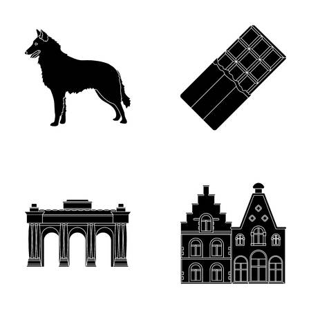 Chocolate, cathedral and other symbols of the country.Belgium set collection icons in black style vector symbol stock illustration web.