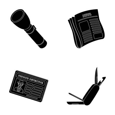 investigating: Flashlight, newspaper with news, certificate, folding knife.Detective set collection icons in black style vector symbol stock illustration web.