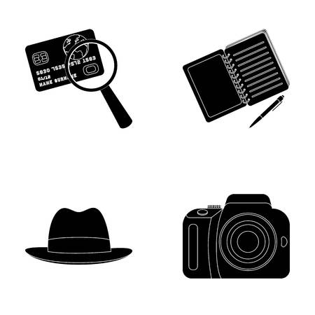 investigating: Camera, magnifier, hat, notebook with pen.Detective set collection icons in black style vector symbol stock illustration web.