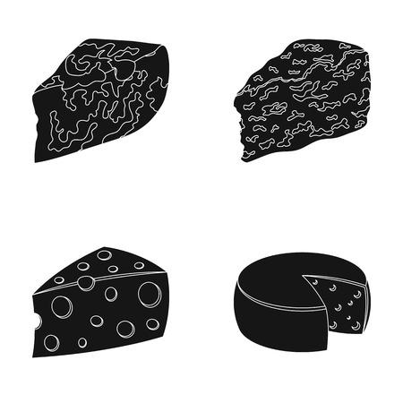 パルメザン チーズ、ロック フォール、maasdam、gauda。チーズの種類は、ブラック スタイル ベクトル シンボル ストック イラスト web コレクションのアイコンを設定します。 写真素材 - 80926987