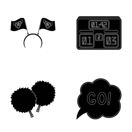tribune: Hoop with flags and other attributes of the fans.Fans set collection icons in black style vector symbol stock illustration web. Illustration