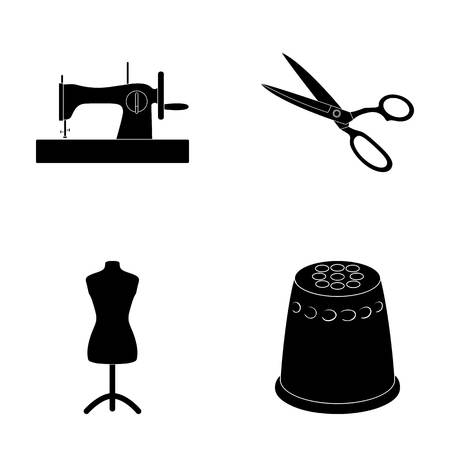 Manual sewing machine, scissors, maniken, thimble.Sewing or tailoring tools set collection icons in black style vector symbol stock illustration web.