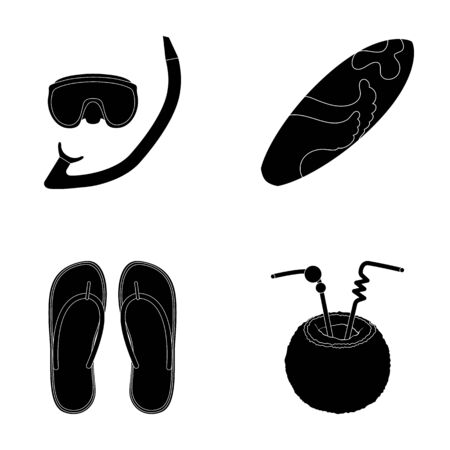 Diving, surfing, cocktail.Summer vacation set collection icons in black style vector symbol stock illustration web. Illustration