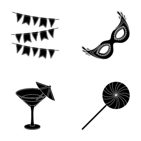 guests: Garlands, cocktail and other accessories at the party.Party and partits set collection icons in black style vector symbol stock illustration web. Illustration