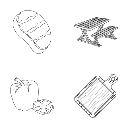 fried: Fried steak, table with a bench for relaxation, sweet pepper, cutting board.BBQ set collection icons in outline style vector symbol stock illustration web . Illustration