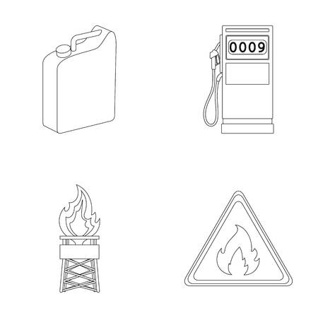 Canister for gasoline, gas station, tower, warning sign. Oil set collection icons in outline style vector symbol stock illustration web.