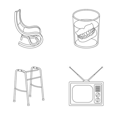 Denture, rocking chair, walker, old TV.Old age set collection icons in outline style vector symbol stock illustration web.
