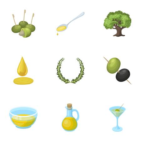 tree logo: Olives, tree, branch and other products from olives.Olives set collection icons in cartoon style vector symbol stock illustration web.