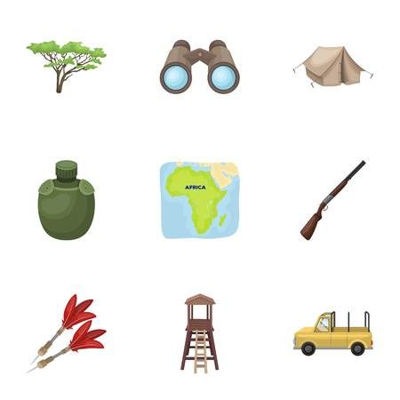 thirsty: Rifle, mask, map of the territory, diamonds and other equipment. African safari set collection icons in cartoon style vector symbol stock illustration web.