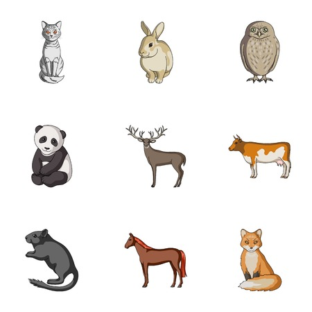 Deer, tiger, cow, cat, rooster, owl and other animal species.Animals set collection icons in cartoon style vector symbol stock illustration web. Illustration