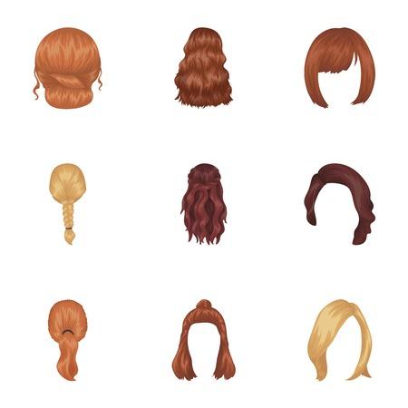 Quads, blonde vlechten en andere soorten kapsels. Terug kapsel set verzameling iconen in cartoon stijl vector symbool stock illustratie web.