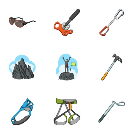 Ice ax, conquered top, mountains in the clouds and other equipment for mountaineering.Mountaineering set collection icons in cartoon style vector symbol stock illustration web. Vektoros illusztráció