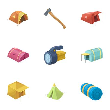 Various kinds of tents and other tourist accessories. The tent set collection icons in cartoon style vector symbol stock illustration web.