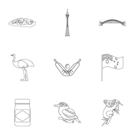 National symbols of australia. Web icon on Australia theme.Australia icon in set collection on outline style vector symbol stock illustration.