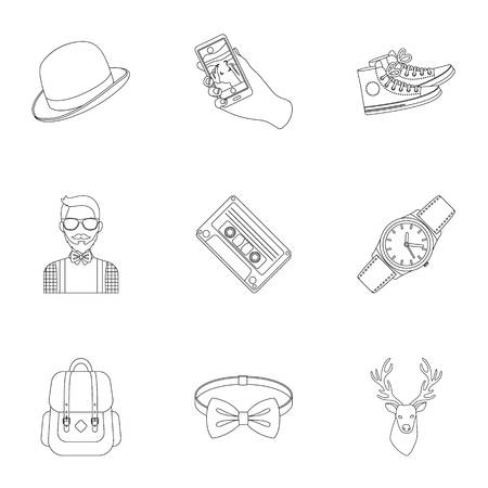 A set of icons about the style of a hipster. A peculiar youth style. Hipster style icon in set collection on outline style vector symbol stock illustration. Ilustração