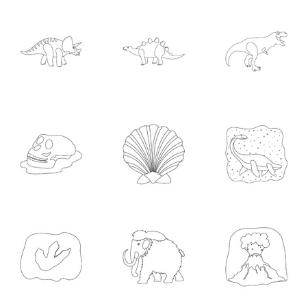 tyrannosaurs: Ancient extinct animals and their tracks and remains. Dinosaurs, tyrannosaurs, pnictosaurs.Dinisaurs and prehistorical icon in set collection on outline style vector symbol stock illustration. Illustration
