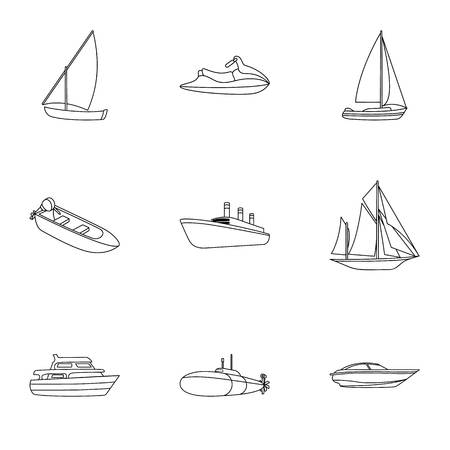 thunderstorms: Sea transport, boats, ships. To transport people, thunderstorms. Ship and water transport icon in set collection on outline style vector symbol stock illustration. Illustration