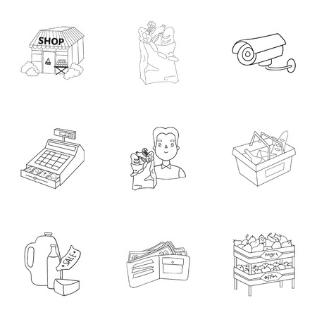 Supermarket, shopping in the store. A selection of pictures on the topic of shopping.Supermarket icon in set collection on outline style vector symbol stock illustration.