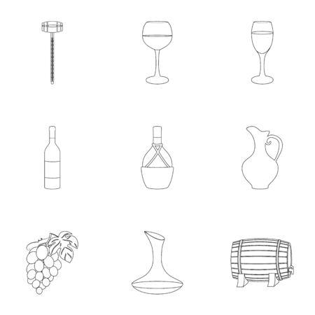 ワイン製品。成長のブドウ、ワイン。つる生産アイコン アウトライン スタイル ベクトル シンボル ストック イラストをセットのコレクション。