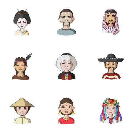 Chinese, russian, american, arab, indian, Turk and other races. The human race set collection icons in cartoon style vector symbol stock illustration web. Illustration