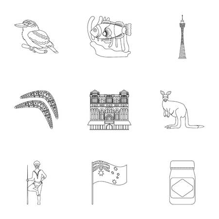 National symbols of australia. Web icon on Australia theme. Australia icon in set collection on outline style vector symbol stock illustration.