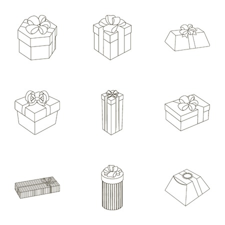 A set of pictures gifts. Gifts for different holidays, surprises. Gift packaging.Gifts and cert icon in set collection on outline style vector symbol stock illustration.
