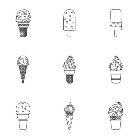 nutty: Summer sweets ice cream. Ice, fruit, milk. Ice creamicon in set collection on outline style vector symbol stock illustration.