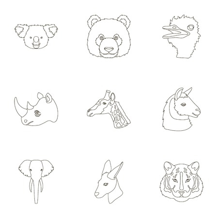 A set of icons of wild animals. Predatory and peaceful wild animals.Realistic animal icon in set collection on outline style vector symbol stock illustration.