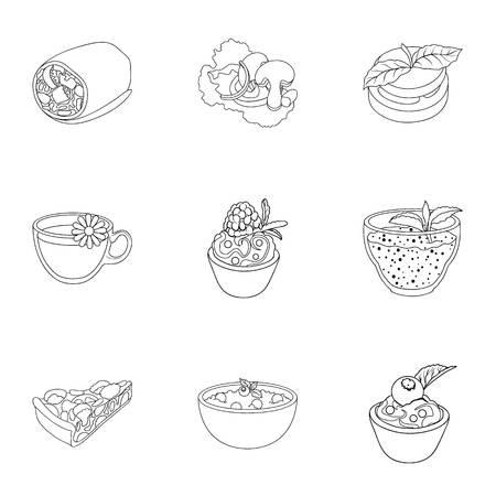 Photos sur le végétarisme. Plat végétarien, nourriture végétarienne. Légumes, fruits, herbes, champignons. Icône de vaisselle végétarienne dans la collection sur le modèle de vecteur de style vecteur illustration. Banque d'images - 81298037