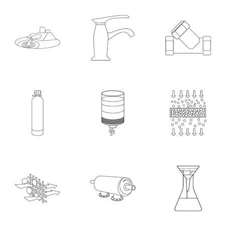水のテーマのアイコンのセットです。水は、世界で最も重要です。水ろ過アイコン アウトライン スタイル ベクトル シンボル ストック イラストを  イラスト・ベクター素材