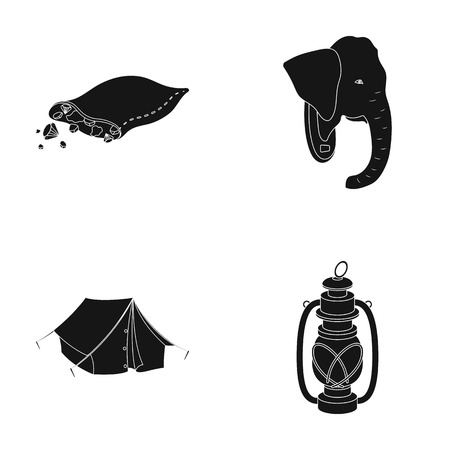 A bag of diamonds, an elephants head, a kerosene lamp, a tent. African safari set collection icons in black style vector symbol stock illustration web. Illustration