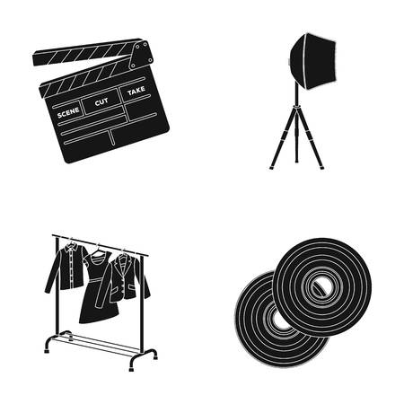 discs: Movies, discs and other equipment for the cinema. Making movies set collection icons in black style vector symbol stock illustration web.