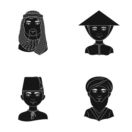 the turks: Arab, turks, vietnamese, middle asia man. Human race set collection icons in black style vector symbol stock illustration web.