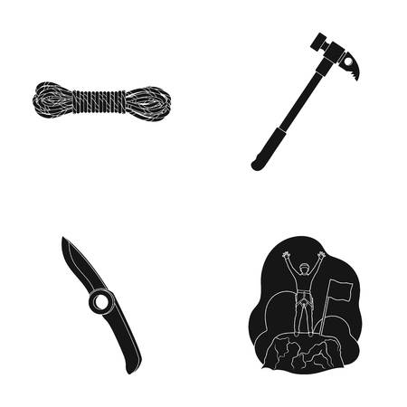 Climber on conquered top, coil of rope, knife, hammer.Mountaineering set collection icons in black style vector symbol stock illustration web.