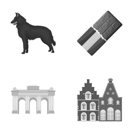 Chocolate, cathedral and other symbols of the country.Belgium set collection icons in monochrome style vector symbol stock illustration web. Illustration
