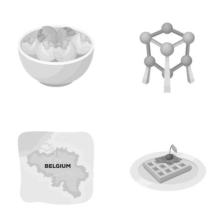 the sprouting: Territory on the map, brussels sprouts and other symbols of the country.Belgium set collection icons in monochrome style vector symbol stock illustration web.