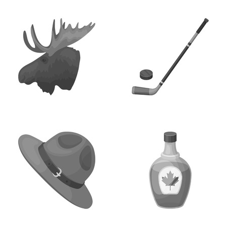 ranger: A canadian policemans hat, a bottle of maple syrup and other Canadian symbols.Canada set collection icons in monochrome style vector symbol stock illustration web.